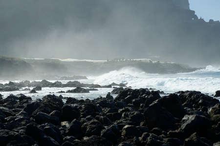 briny: Rocky beach with huge ocean waves on beach of Costadel Buenavista, Tenerife, Canary, Spain