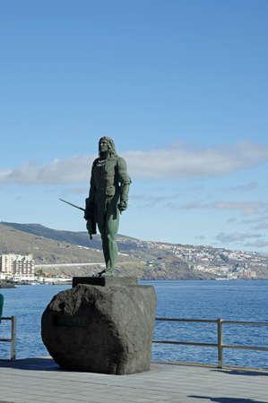 canarias: Guanche indian statue located at Plaza de la Patrona de Canarias at Candelaria, Tenerife, Canarian Island, Spain.