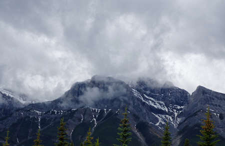 canmore: Mountain landscape from trail in park in Canmore, Alberta, Canada Stock Photo