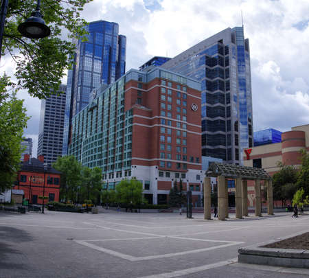 Calgary, Alberta Canada. The new urban park in Calgarys financial district.