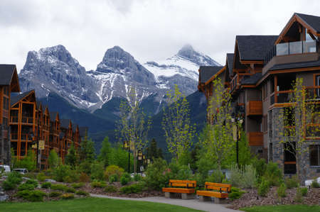 canmore: MAY 27, 2016: Canmore is one of the most famous town with Canadian Rockies. Canada
