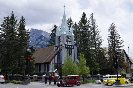 BANFF, ALBERTA - MAY 28: Banff Avenue on May 28, 2016 in Banff National Park, Alberta, Canada. Banff Avenue is the central shopping district in the town of Banff. Editorial
