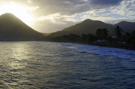 Sunset above La Diamond beach, Martinique Island, Lesser Antilles