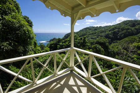The coastline near Castle Bruce village located on west cost of Dominica island, Lesser Antilles Stock Photo