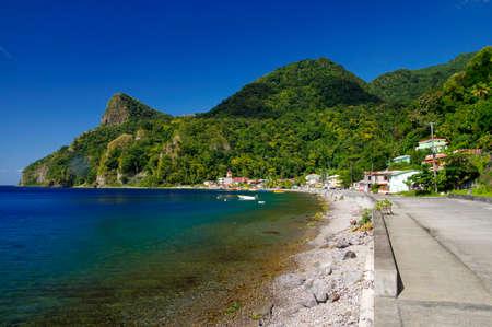 View of Soufriere village. Dominica island, Lesser Antilles