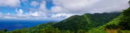 A panoramic view from Cold Soufriere near road from Penville to Portsmouth, Dominica, Lesser Antilles Stock Photo