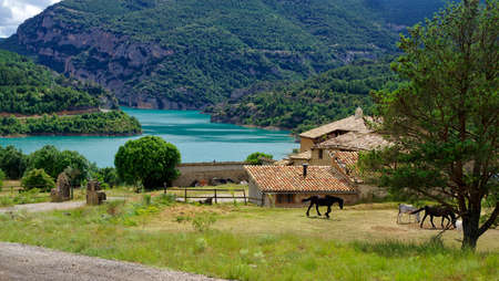 The stud farm by the Llosa del Cavall lake, Lleida province, Catalonia, Spain.