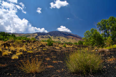 Mount Etna landscape with volcano craters in Sicily, Italy Stock fotó