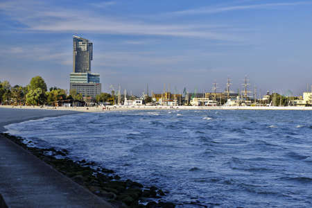 GDYNIA, POLAND: SEPTEMBER 29, 2017 - View of central city-port of Gdynia on  September 29 afternoon, Poland
