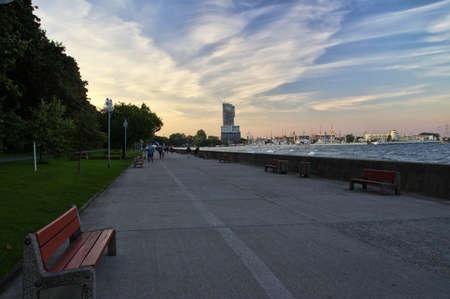 GDYNIA, POLAND: SEPTEMBER 29, 2017 - The Feliks Nowowiejski Seaside Boulevard leading to center city-port of Gdynia late afternoon on September 29, 2017 Poland
