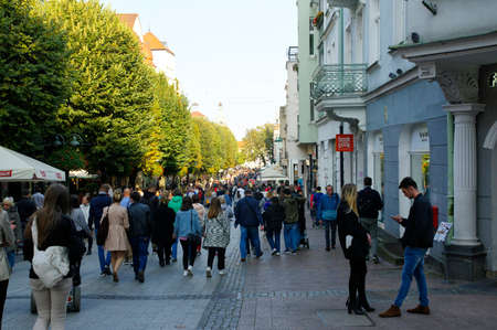 SOPOT, POLAND: SEPTEMBER 30, 2017: People on Monte Cassino street with many shops, clubs, galleries, on September 30, 2017 in Sopot, Poland.