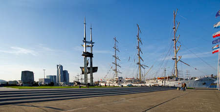 GDYNIA, POLAND: SEPTEMBER 29, 2017: The Kosciuszko Square - the one of most representation places in Gdynia late afternoon on September 29, 2017. In the end of South Pier there are the the Joseph Conrad monument and Sails monument.