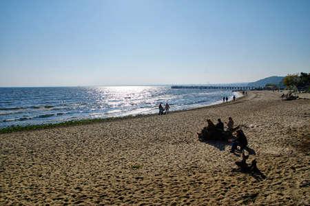 Gdynia Orlowo, Poland, September 30, 2017: Beach in Gdynia Orlowo at Baltic Sea bay in Poland, Europe