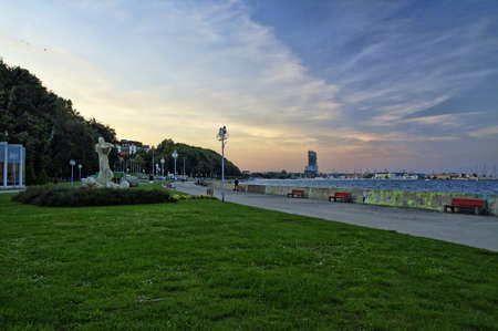 GDYNIA, POLAND: SEPTEMBER 29, 2017 - The late afternoon view of Arka Gdynia Square on September 29, 2017. Square is located at Seaside Boulevard in center city-port of Gdynia, Poland Editorial