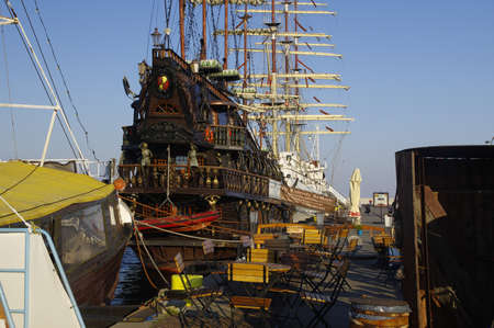 GDYNIA, POLAND: SEPTEMBER 29, 2017: Large wooden sailing galleon for tourist voyages in Gdynia port over Baltic Sea