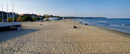 SOPOT, POLAND: SEPTEMBER 30, 2017 : View of the Sofitel Grand Hotel and beach in Sopot, Poland
