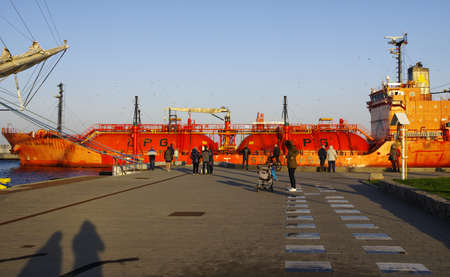 GDYNIA, POLAND: SEPTEMBER 29, 2017: The lpg tanker calling at the Gdynia port late afternoon on September 29, 2017, Poland