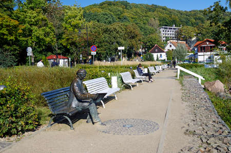 Gdynia Orlowo, Poland, September 30, 2017: Painter Antoni Suchanek monument in a park in Orlowo, Poland.