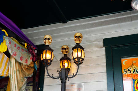 Halloween decorations in shop window in the Colonial Quarter of St. Augustine, Florida State, United States of America