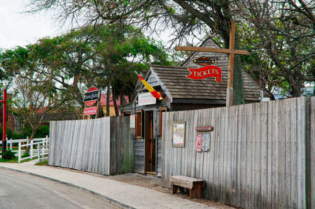 ST AUGUSTINE, FLORIDA, US - OCTOBER 23, 2017: Wooden museum in the Colonial Quarter of St. Augustine on October 23, Florida State, United States of America Editorial