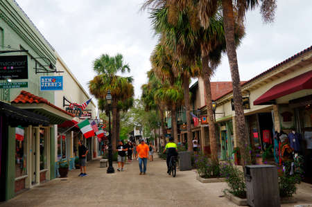 ST AUGUSTINE, FLORIDA, US - OCTOBER 23, 2017: Main street in Colonial County of St Augustine city from Florida on October 23, USA