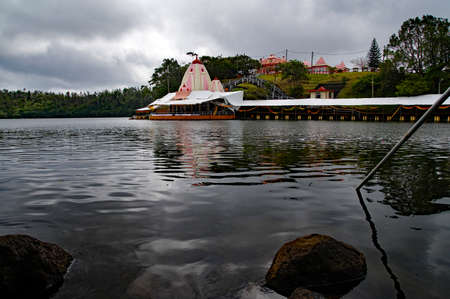 Hindu Temple and Ganga Talao. Crater lake at Grand Bassin. It is the most sacred Hindu place in Mauritius