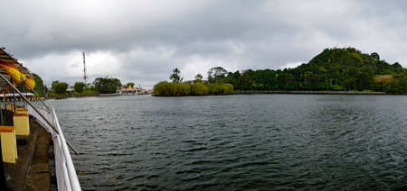 Hindu Temple and Ganga Talao. Crater lake at Grand Bassin. It is the most sacred Hindu place in Mauritius.
