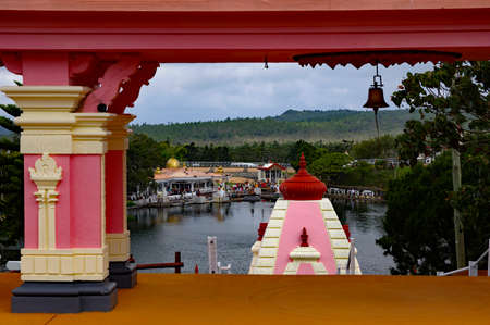 MAURITIUS - AUGUST 18, 2018: Hindu Temple and Ganga Talao. Crater lake at Grand Bassin. It is the most sacred Hindu place in Mauritius.