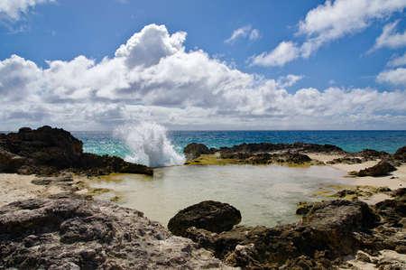 La Douche beach on the road to La Pointe Des Chateaux, Grande-Terre, Guadeloupe Standard-Bild - 132608924