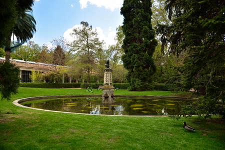 Greenhouse and fountain in Royal Botanical Gardens in Madrid, Spain, Europe Standard-Bild - 136032553