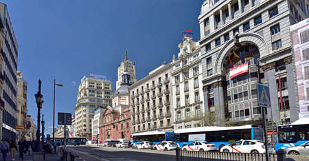 MADRID / SPAIN - APRIL 12, 2019 - Deserted Calle de Alcala street is one of the most traffic jammed street in center of Madrid, Spain Standard-Bild - 137014175