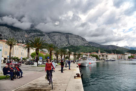 MAKARSKA, CROATIA - MAY 1, 2019 - The famous and beautiful Makarska town in Dalmatia popular tourist destination in Dalmatia. Croatia