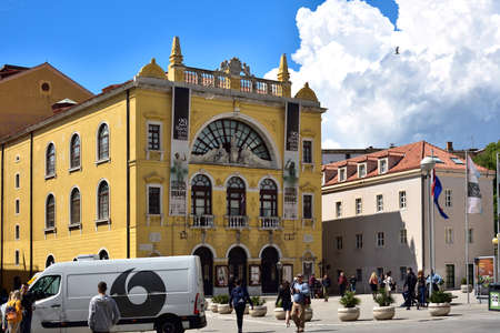 SPLIT, CROATIA - APRIL 29, 2019: People on the Square Franje Tudmana in the center of the Split