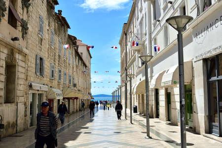 SPLIT, CROATIA - APRIL 29, 2019: The deserted main street of Marmontova in Split in early spring, Croatia Editorial