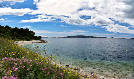 CIOVO ISLAND, CROATIA - APRIL 30, 2019 - Beautiful landscape with crystal clear water of Adriatic from Ciovo island near Trogir city, Croatia
