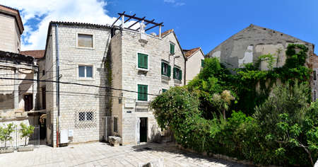 Ancient buildings surrounding the Diocletian's Palace in Split city center at the sunny day in Croatia