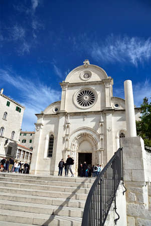 SIBENIK, CROATIA - APRIL 30, 2019 - The Cathedral of St. James is a triple nave basilica with three apses and a dome in the city of Sibenik, Croatia Editorial