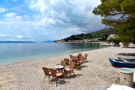 PODGORA, CROATIA - MAY 01, 2019 - The croatian beach landscape in Podgora town, Dalmatia, Croatia. Stock Photo