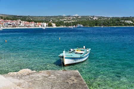 he famous and beautiful Primosten town in Dalmatia - popular tourist destination in Dalmatia. Croatia Stock Photo