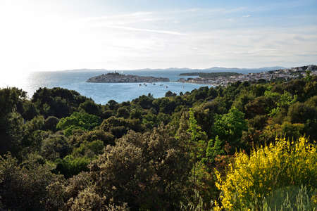 View of primosten town coastline, croatia Stock Photo