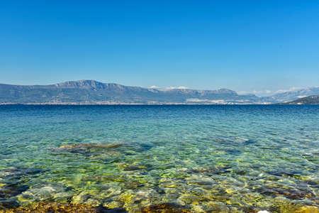 Beautiful landscape with crystal clear water of Adriatic from Ciovo island near Trogir city, Croatia. Near, adriatic.