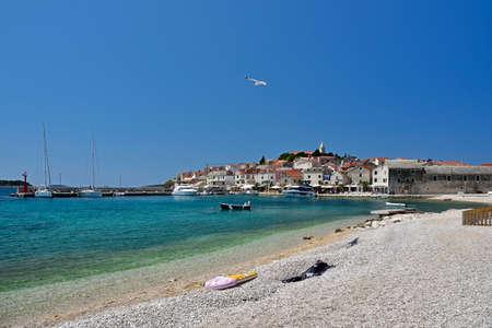 PRIMOSTEN, CROATIA - MAY 2, 2019 - The famous and beautiful Primosten town in Dalmatia - popular tourist destination in Dalmatia. Croatia Editorial