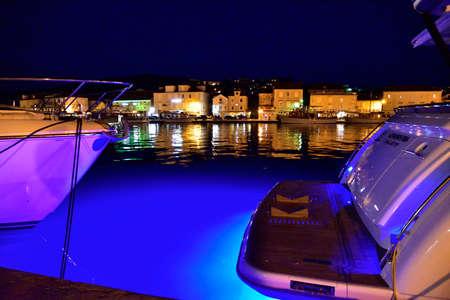 TROGIR, CROATIA - APRIL 31, 2019: The mediterranean city of Trogir at night. Croatia.