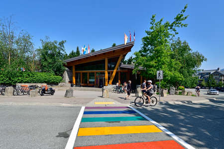 WHISTLER, BC, CANADA, MAY 30, 2019: The Whistler - Canadian Ski Resort town approximately 125 kilometers north of Vancouver Editorial