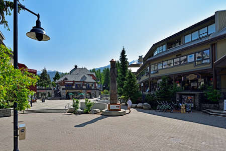 WHISTLER, BRITISH COLUMBIA, CANADA, MAY 30, 2019: Tourists and visitors at the Whistler - Canadian Ski Resort town approximately 125 kilometers north of Vancouver
