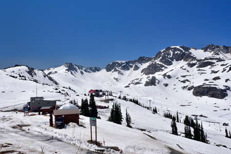 WHISTLER, BC, CANADA, MAY 30, 2019: Ski Resort in Whistler - Canadian Ski Resort town approximately 125 kilometers north of Vancouver Editorial