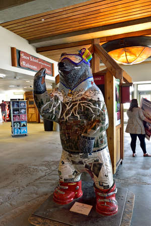 WHISTLER, BC, CANADA, MAY 30, 2019: Bear statue in the Roundhouse Lodge building in the Ski Resort in Whistler Editorial