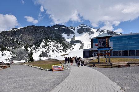 WHISTLER, BC, CANADA, MAY 30, 2019: Peak 2 Peak gondola building on top of Whistler Blackcomb Mountain.