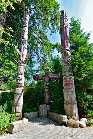 The Indian totem poles located in Capilano Park in Vancouver, Vancouver, BC. Canada