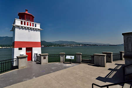 VANCOUVER, BRITISH COLUMBIA, CANADA, MAY 31, 2019: The Brockton Point Lighthouse in Stanley Park, Vancouver, BC. Editorial